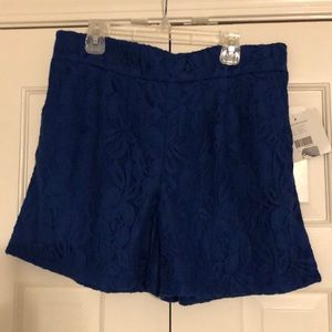 New royal blue lace shorts with elastic waist